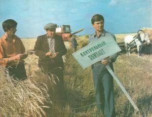 Комбайнер М.М. Искандаров, председатель группы народного контроля Ф.М. Синагатуллин и главный агроном колхоза И.А. Гилязев на контрольном обмолоте