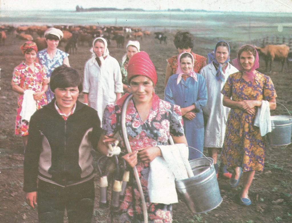 Заведующая фермой №1 Р.Ш. Шаехмурзина, доярка З.Ф. Набиева и другие работницы фермы возвращаются с дойки.